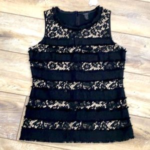 NWT J. CREW Black Lace Nude Lined Sleeveless Top XS